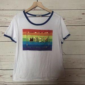 Love J Pride Rainbow Queen Ringer Tee Size 1X
